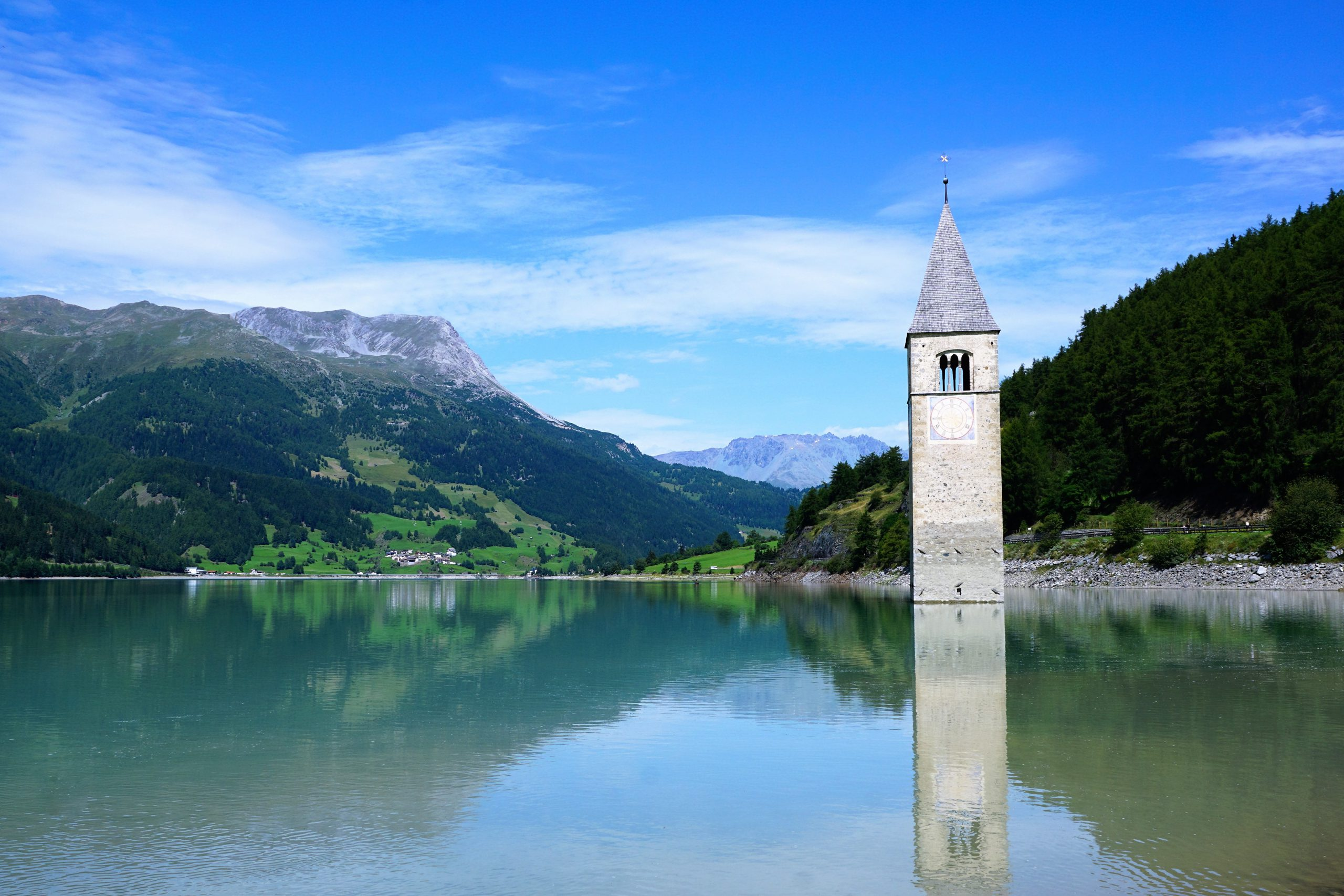 W Etsch Reschensee Kirchturm im Seecpixabay 1